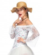 Particularly Flare Sleeves Corset 12 Plastic Bones Party Fashion