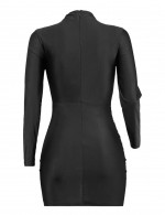 Fascinating Black Zipper Ruched Bodycon Dress Slim Waist Luscious Curvy