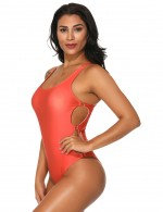 Adorable Plain Orange One Piece Swimwear High Cut Leg Form Fit