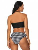 Gorgeous Plaid Black 2 Pieces Swimsuit Bandeau Multi-ways Women Outfits