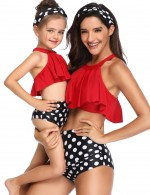 Sultry Red Ruffle Family Swimsuit Halter Dot Pattern Female