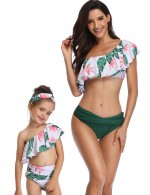 Beach Vacation Green Ruched Waist Family Swimwear Single Shoulder