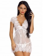 Affordable White Eyelash Lace Babydoll Lingerie With Thong High Quality Fabric