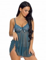 Blackish Green Plunging Neck Babydolls G-String Lace Patchwork For Woman