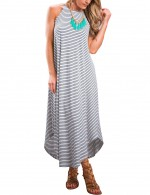 Flattering Halter Collar White Maxi Dress Sleeveless Stripe For Couple