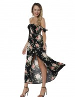 Angel Black Bamboo Crisscross Back Maxi Dress