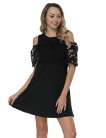 Pleasurable Black Cold Shoulder Short Dresses Stitching Floral Lace
