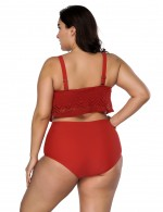 Summer Time Push Up Red High Waist Double Layers Plus Lace Beachwear