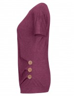 Creative Wine Red O Neck Blouses 3 Button Decor For Sauntering