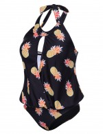 Tropical Halter Hollow Out Plus Bathingsuit Pineapple Print