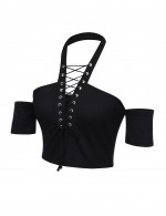 Appropriate Black Cross Halter Neck Crop Tops Cut Out Sleeves Women's Tops