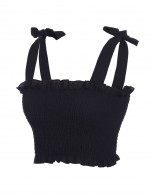 Dainty Black Square Neck Crop Top Self Tie Straps Streetstyle
