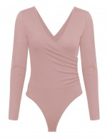 Close Fitting Pink Ruched Plain Bodysuit Wrap V-Neck For Beauty