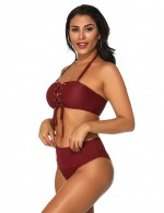 Glam Wine Red Ribbed Tube Two Pieces Swimsuit Mid-Waist Casual Fashion