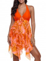 Classy Orange Big Size Swimming Dress V-Neck With Panty Fashion Top