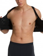Comfortably Black Mens Hooks Cropped Top Shaper Push Up Stretch
