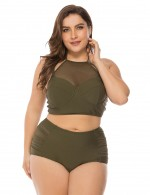 Blackish Green Splice Mesh Padding Bikini High Waist Big Size Ultra Hot