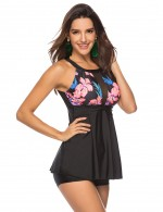 Good Large Size Floral Print Tankini Mesh Patchwork Womens Apparel