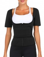 Haute Contour Black Short Sleeves Neoprene Queen Size Underbust Shapewear Firm Control