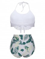 Unforgettable Blackish Green Ruched Bikini Floral Print Halter Collar Good Elasticity