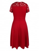 Comfort Red Vintage Midi Dress Zipper Floral Lace Latest Styles