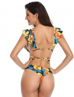 Allover Padded Floral Bikini Flounce With Knot Women's Apparel