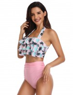 Beautiful Pink Flounce Halter Neck Bikini Leaf Pattern Fashion