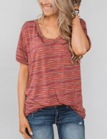 Classic Red Striped Blouse Short Sleeved With Pockets Garment