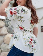 Likable White Blouse Floral Printed Ruched Queen Size Quick Drying