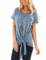 Casual Blue Plain Blouse Crew Neck Bamboo Cotton Online