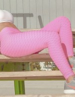 Cheeky Pink High Waist Sports Leggings Ankle Length For Ladies