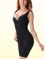 Amazing Black Open Crotch Body Slimmer Solid Color Close Fit