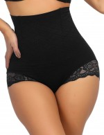 Black Floral Lace Butt Enhancer Panty Anti-Curling Anti-Slip Flatten Tummy