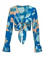 Snazzy Blue Printed Swimming Top Long Trumpet Sleeves Knot Women Forward