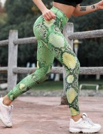 Chic Green Tights Activewear Enhance Hip Serpent Pattern Workout
