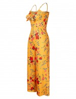 Flowing Yellow Spaghetti Straps Wide Leg Jumpsuit Flower New Fashion