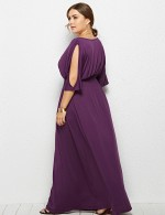 Fitness Purple Queen Size Plain Maxi Dress Round Collar Fashion For Women