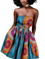 Curve Smoothing African Print Mini Dress Bandeau Style Online