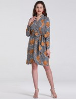 Close Fitting National V Neck Short Plus Size Dress Button Down Lady Fashion