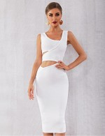 Soft White Irregular Waist Cut Bandage Dress Zipper All-Match Fashion