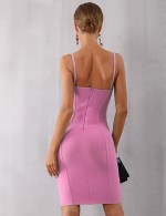 Summary Pink Zip Closure Bodycon Dress Above Knee Wholesale Online