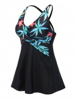 Vivid Criss Cross Printed 2 Pieces Swimsuit Big Size For Every Occasion