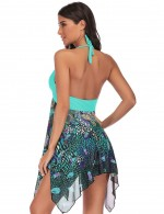 Beach Time Light Green Big Size Two Pieces Swimwear Halter Neck Women