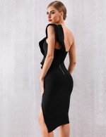 Romantic Black Single Shoulder Bandage Dress Ruffles Outfits