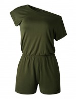 Appealing Army Green Short Jumpsuits Elastic Waist Solid Color Loose Fit
