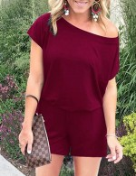 Exotic Wine Red One Shoulder Jumpsuits Mini Length Plain Comfortable