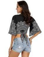 Abstract Boho Pattern Cropped Cover Up Sun Protective For Every Occasion