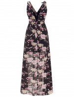 Floral Print Empire Waist Black Maxi Dress Open Back Elegance