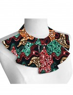 Close Fitting African Print Necklace Bib Collar Cotton Glamor