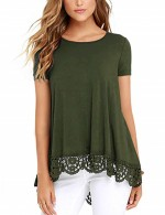 Maiden Army Green Short-Sleeved Lace Shirt Round Collar Women Clothing